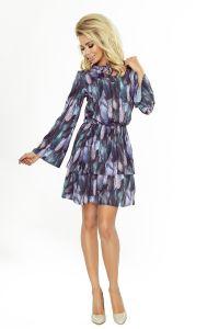 179-1 VIOLA Sukienka z dwoma falbanami i rozkloszowanym rękawkiem - PIÓRA