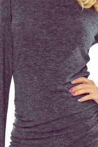 185-1 Sweterek z marszczeniem i rozkloszowanym rękawkiem GRAFIT melanż