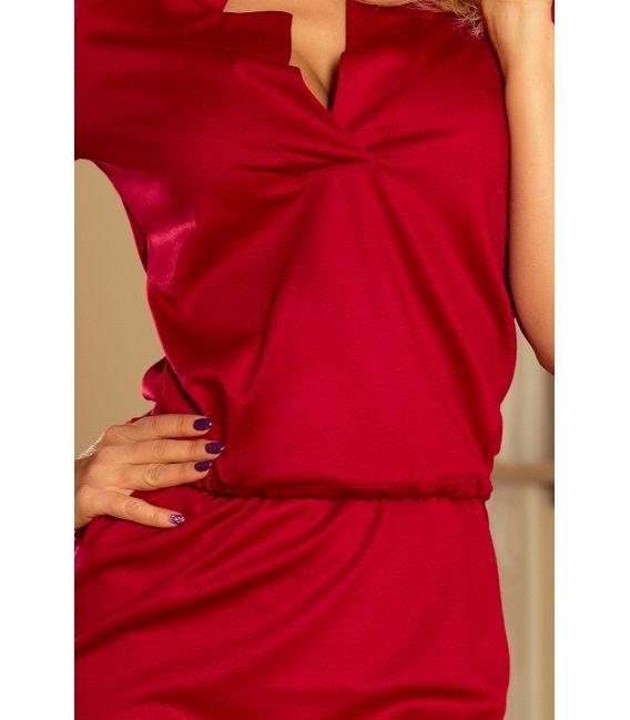 161-9 AGATA - Sukienka z kołnierzykiem - BORDOWA