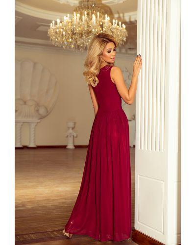 166-3 MAXI szyfonowa sukienka z rozcięciem - BORDOWA