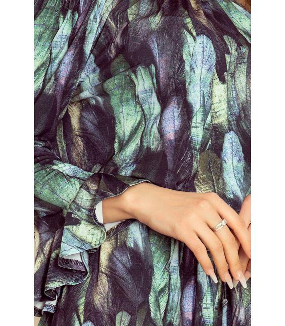 198-1 JULIE Sukienka z falbankami na rękawkach - PIÓRA ZIELONE