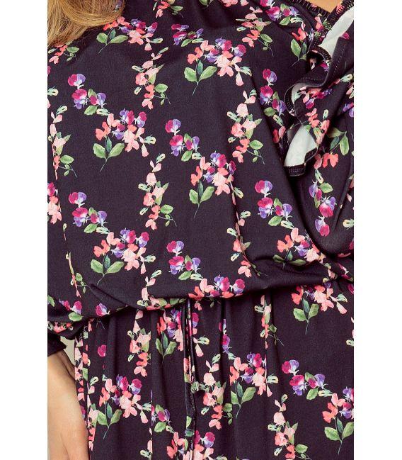 198-3 JULIE Sukienka z falbankami na rękawkach - DROBNE KWIATY + CZARNY