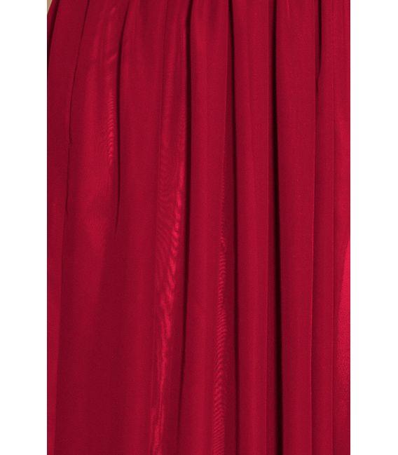 166-6 MAXI szyfonowa sukienka z rozcięciem - ŚLIWKA
