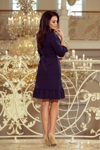 193-3 MAYA Sukienka z falbankami i paskiem - GRANATOWA