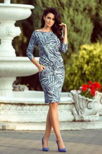 13-87 Sukienka sportowa z wiązaniem - niebieskie JEANSOWE LIŚCIE