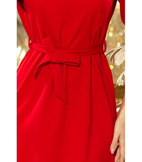 193-6 MAYA Sukienka z falbankami i paskiem - CZERWONA
