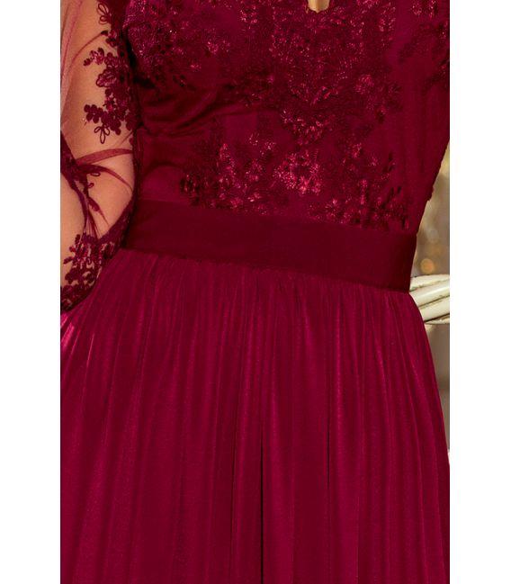 213-2 ARATI długa suknia z haftowanym dekoltem i długim rękawkiem - BORDOWA