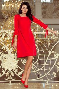 195-4 ALICE Sukienka z kokardkami - CZERWONA