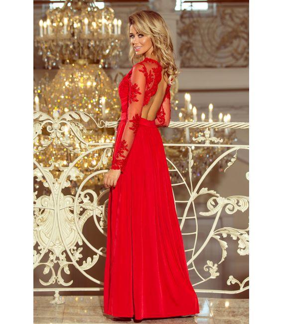 213-3 ARATI długa suknia z haftowanym dekoltem i długim rękawkiem - CZERWONA