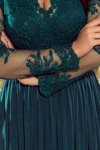 213-1 ARATI długa suknia z haftowanym dekoltem i długim rękawkiem - ZIELEŃ BUTELKOWA