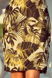 221-2 Sukienka sweterkowa z rozkloszowanym rękawkiem - MUSZTARDOWE LIŚCIE