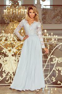 214-2 MADLEN długa suknia z koronkowym dekoltem i długim rękawkiem - SZARA