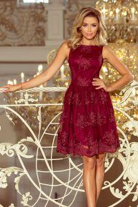 173-2 Ekskluzywna rozkloszowana sukienka z haftem - BORDOWA
