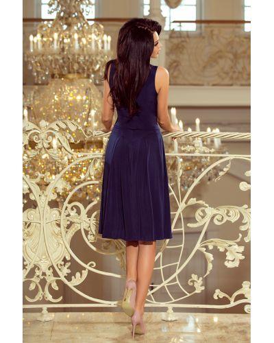 219-1 GIULIA - Rozkloszowana sukienka midi z dekoltem - GRANATOWA