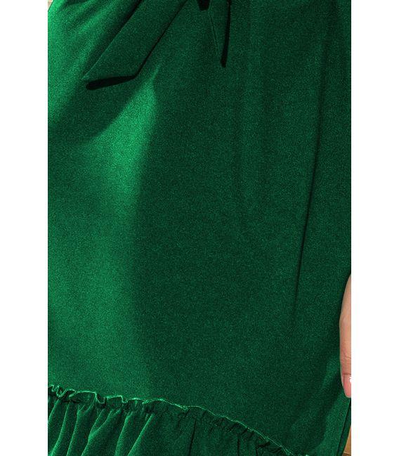 193-8 MAYA Sukienka z falbankami i paskiem - ZIELEŃ BUTELKOWA