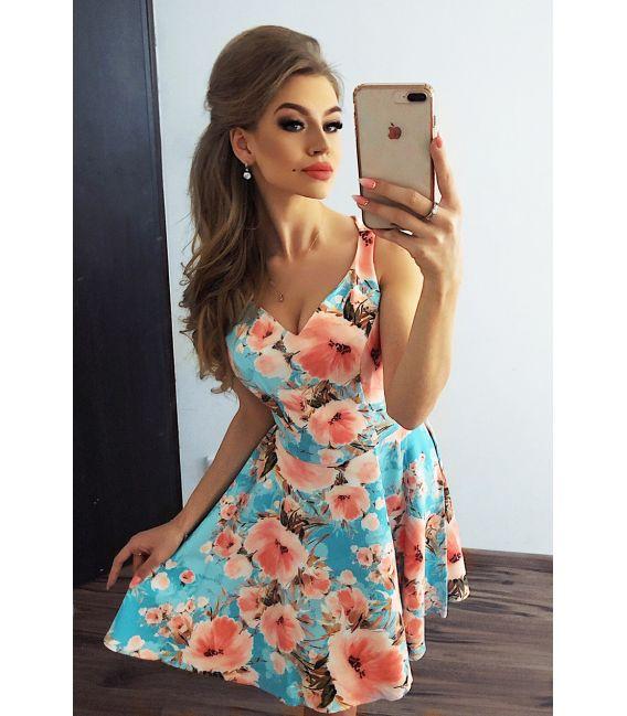 MM 014-9 Rozkloszowana sukienka z dekoltem - BRZOSKWINIOWE KWIATY