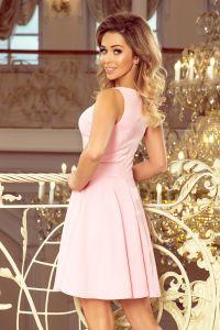 MM 014-10 Rozkloszowana sukienka - dekolt w kształcie serduszka - PASTELOWY RÓŻ