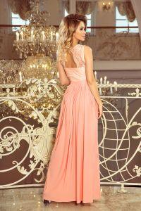 211-4 LEA długa suknia bez rękawków z koronkowym dekoltem - BRZOSKWINIA