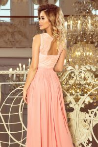 211-5 LEA długa suknia bez rękawków z koronkowym dekoltem - PUDROWY RÓŻ