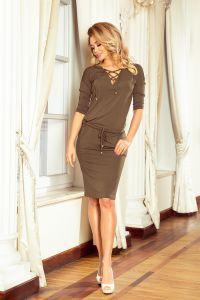 230-3 JANET Sukienka z wiązanym dekoltem - KHAKI