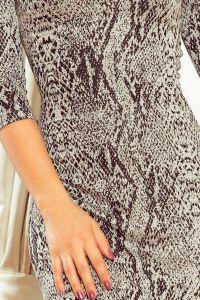 88-18 Sukienka z rękawkiem i trapezową spódnicą - wzór: skóra węża