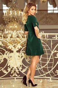 235-2 Sukienka z falbankami i wiązaniem na rękawkach - CIEMNOZIELONA
