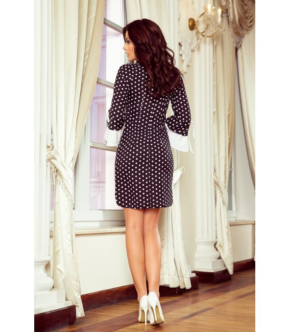 232-1 GRACE sukienka z białymi rękawkami - czarna w białe groszki