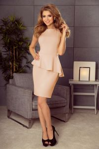 178-5 Asymetryczna sukienka z baskinką - BRZOSKWINIA