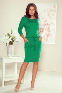 44-21 Sukienka sportowa z golfem - zielona