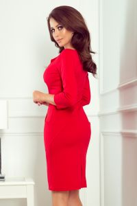 269-1 MISSY Dopasowana sukienka z dekoltem - CZERWONA