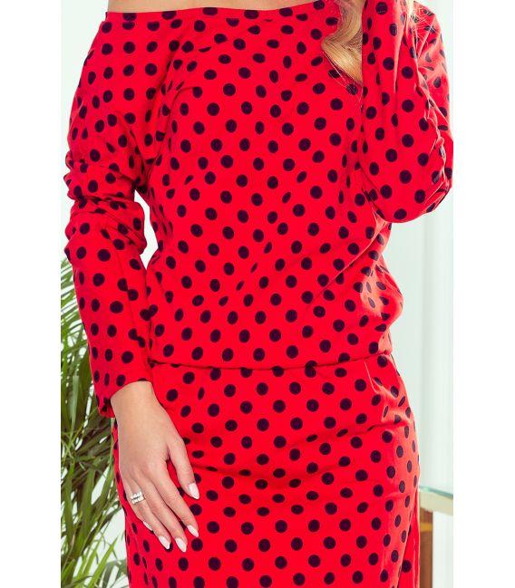 189-8 Sukienka dresowa z dekoltem na plecach - CZERWONA W CZARNE GROSZKI