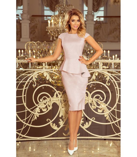 192-12 Elegancka sukienka MIDI z baskinką - ZAMSZ - BRUDNY RÓŻ Z SZARYM PODBICIEM