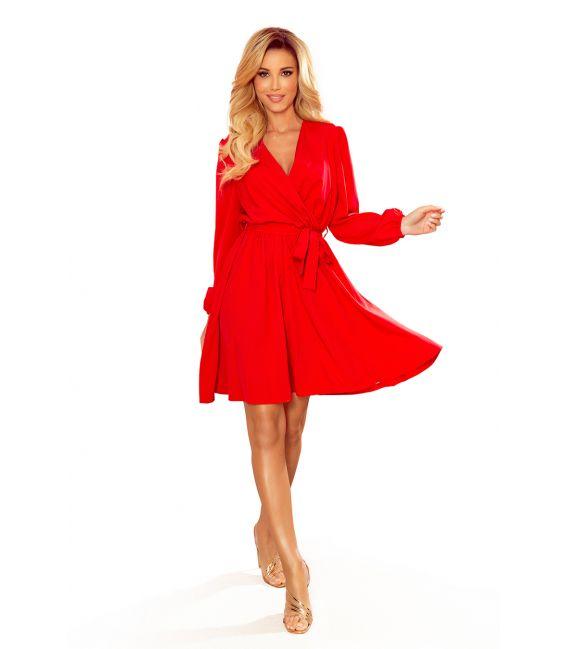 339-1 BINDY Kobieca sukienka z dekoltem - CZERWONA