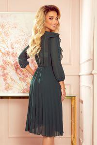 341-2 POLLY Szyfonowa sukienka z plisami - ZIELEŃ BUTELKOWA