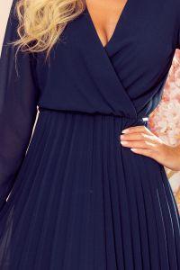 313-6 ISABELLE Plisowana sukienka z dekoltem i długim rękawkiem - GRANATOWA