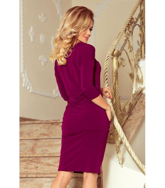 230-1 JANET Sukienka z wiązanym dekoltem - ŚLIWKA