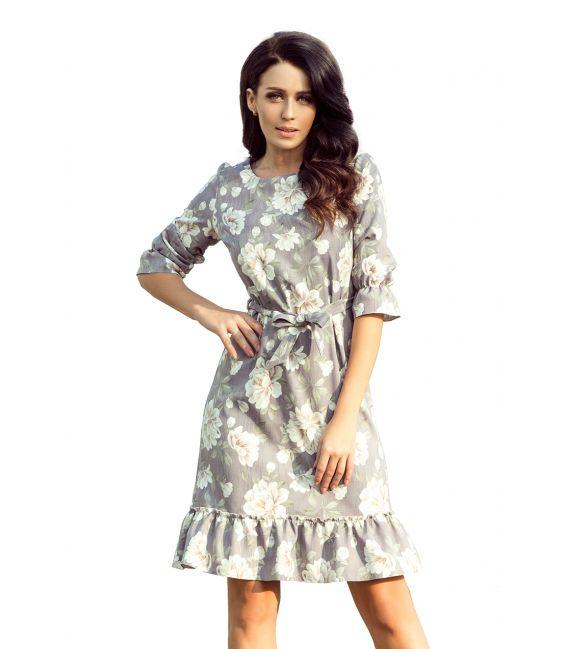 193-4 MAYA Sukienka z falbankami i paskiem - JASNE KWIATY NA SZARYM TLE