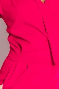 94-9 Sukienka z zakładanym dekoltem - MALINA