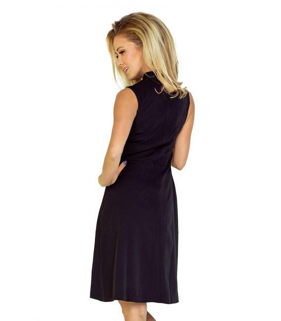 133-2 Sukienka ze stójką i dekoltem - CZARNA