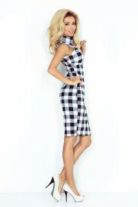 MM 002-3 Sukienka z golfem BEZ RĘKAWKÓW - KRATKA BIAŁO-CZARNA