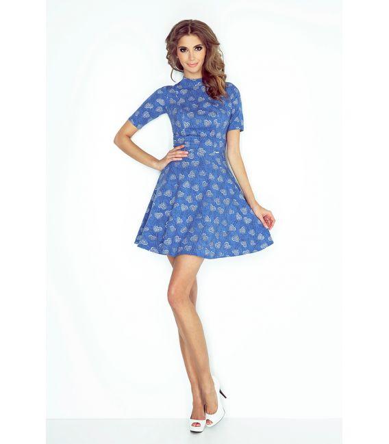 MM 011-1 Sukienka z półgolfem i krótkim rękawkiem - JEANS W SERDUSZKA