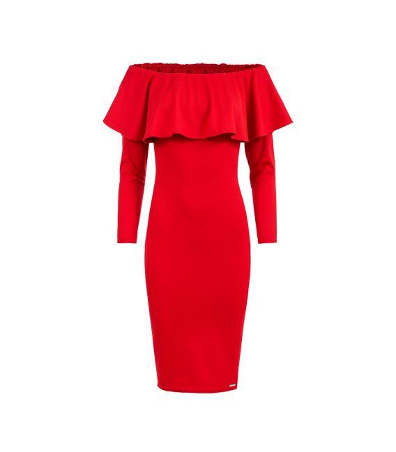 156-2 Sukienka hiszpanka z DŁUGIM rękawkiem - CZERWONA