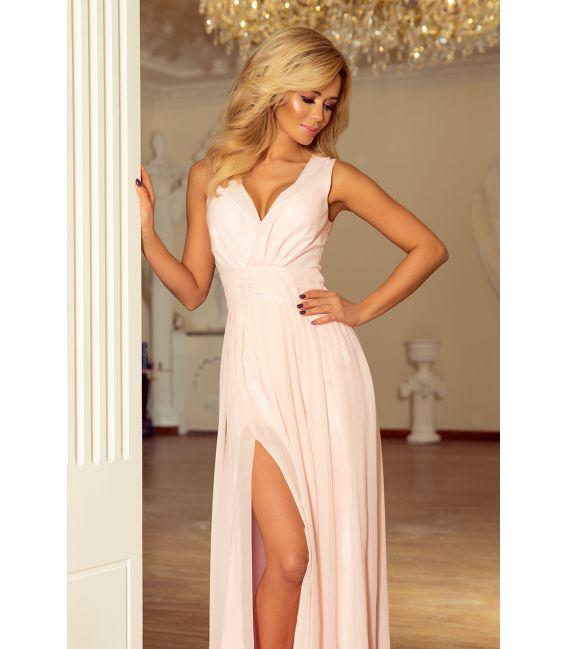 166-4 MAXI szyfonowa sukienka z rozcięciem - BRZOSKWINIA