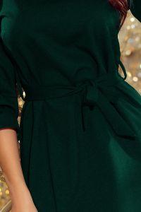 193-9 MAYA Sukienka z falbankami i paskiem - CIEMNA ZIELEŃ