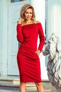 225-3 RAYA Sukienka z odkrytymi ramionami - CZERWONA