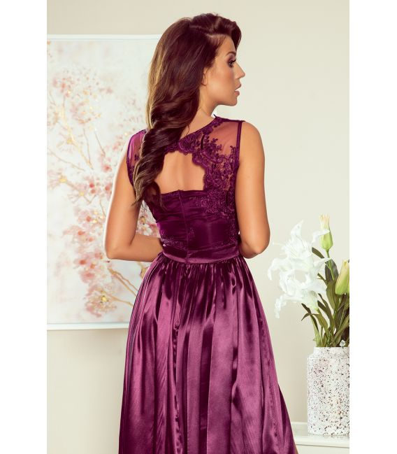 256-2 SALLY długa suknia z haftowanym dekoltem - ŚLIWKA