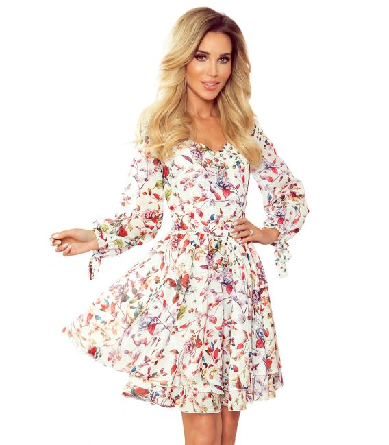 305-1 ZOE zwiewna szyfonowa sukienka z dekoltem - KOLOROWE KWIATY na jasnym tle