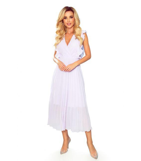 315-4 EMILY Plisowana sukienka z falbankami i dekoltem - WRZOS