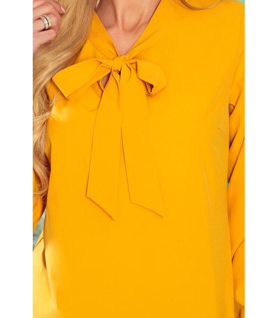 140-13 Bluzka z wiązaniem z przodu - kolor MUSZTARDOWY