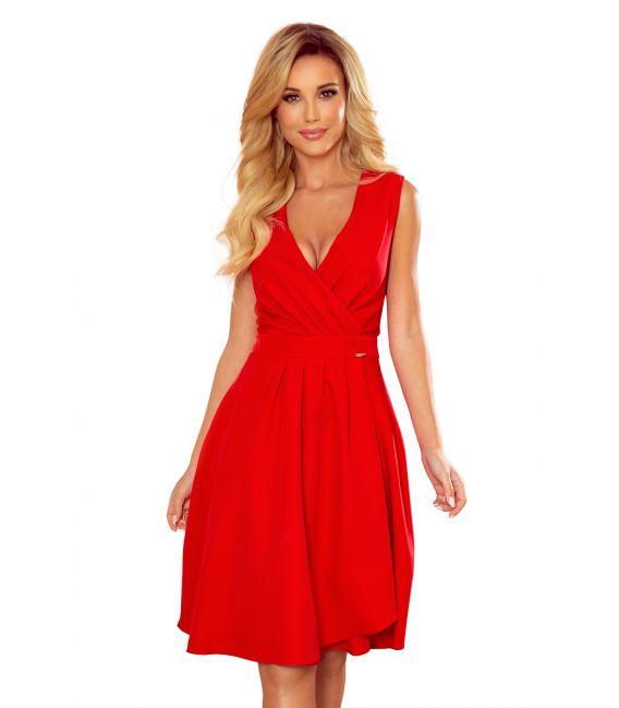 338-1 ELENA elegancka sukienka z dekoltem i zakładkami - CZERWONA